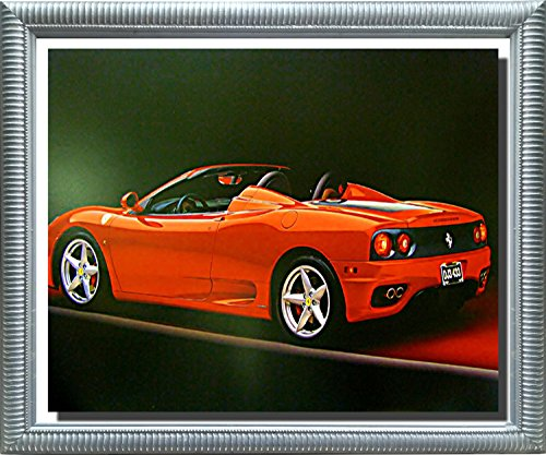 Red Ferrari 360 Modena Spider Sports Car Silver Framed Art Print Picture (20x24) (Ferrari Spider 360 Modena)
