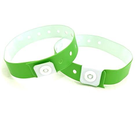 nuova collezione e387e 1820b Lotto di 100 braccialetti in plastica/ vinile per eventi, personalizzabili  e impermeabili verde fluo