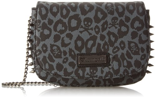 (Loungefly Skull Leopard Spike Cross Body Bag,Black,One Size)