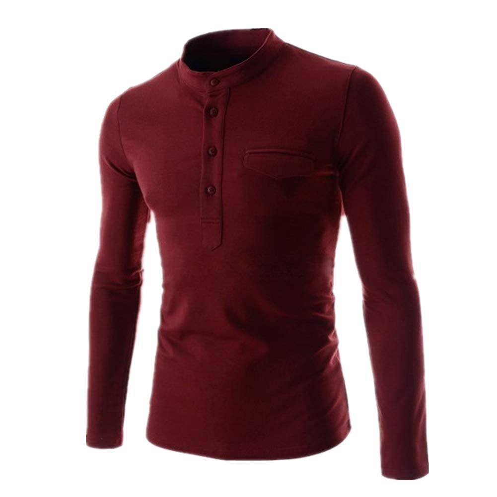 Cotton Blouse Long Sleeve Military Slim Round Neck Chickwin Man Casual Shirt
