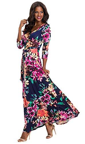 Stampa Floreale a Vestiti 3 Landove da Cocktail Dress Casual Abiti Lungo Mode V Scollo Cerimonia 09 Bohemian 4 Spiaggia Abito Sera Maxi Elegante Color Maniche Vestito Donna OPzxOvp