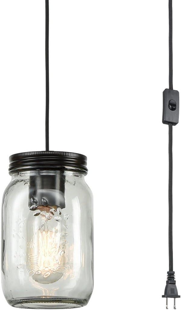 EUL Classic Mason Jar Light Fixture Clear Glass Hanging Lamp Plug-in Pendant Lighting, Oil Rubbed Bronze