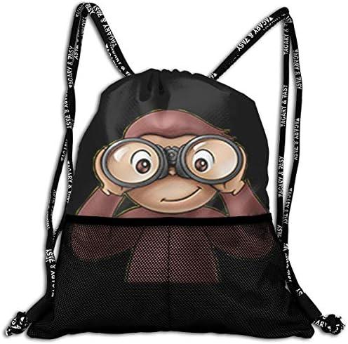 おさるのジョージ1 ナップサック アウトドア ジムサック 防水仕様 バッグ 巾着袋 スポーツ 収納バッグ 軽量 バッグ 登山 自転車 通学・通勤・運動 ・旅行に最適 アウトドア 収納バッグ 男女兼用 ジムサック バック