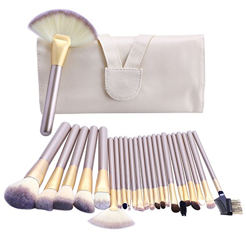 Makeup Brush Set, S'agapo 24pcs Professional Synthetic Bristle Makeup Brushes Essential Cosmetics with Case, Face Powder Concealer Eye Shadow Foundation Blush Liquid Cream Blending Brush