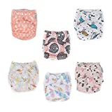 TGQ KIDZ   6 Cloth Diapers plus 6 Inserts   Washable & 100% cotton  Adjustable Baby Diapers + Reusable  Girl