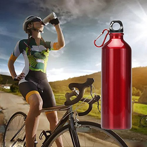 Quaanti Outdoor 500ML Stainless Steel Small Mouth Drinking Water Bottle Sports Drink Kettle Leak-Proof Bicycle Kettle Easy to Clean (Red)