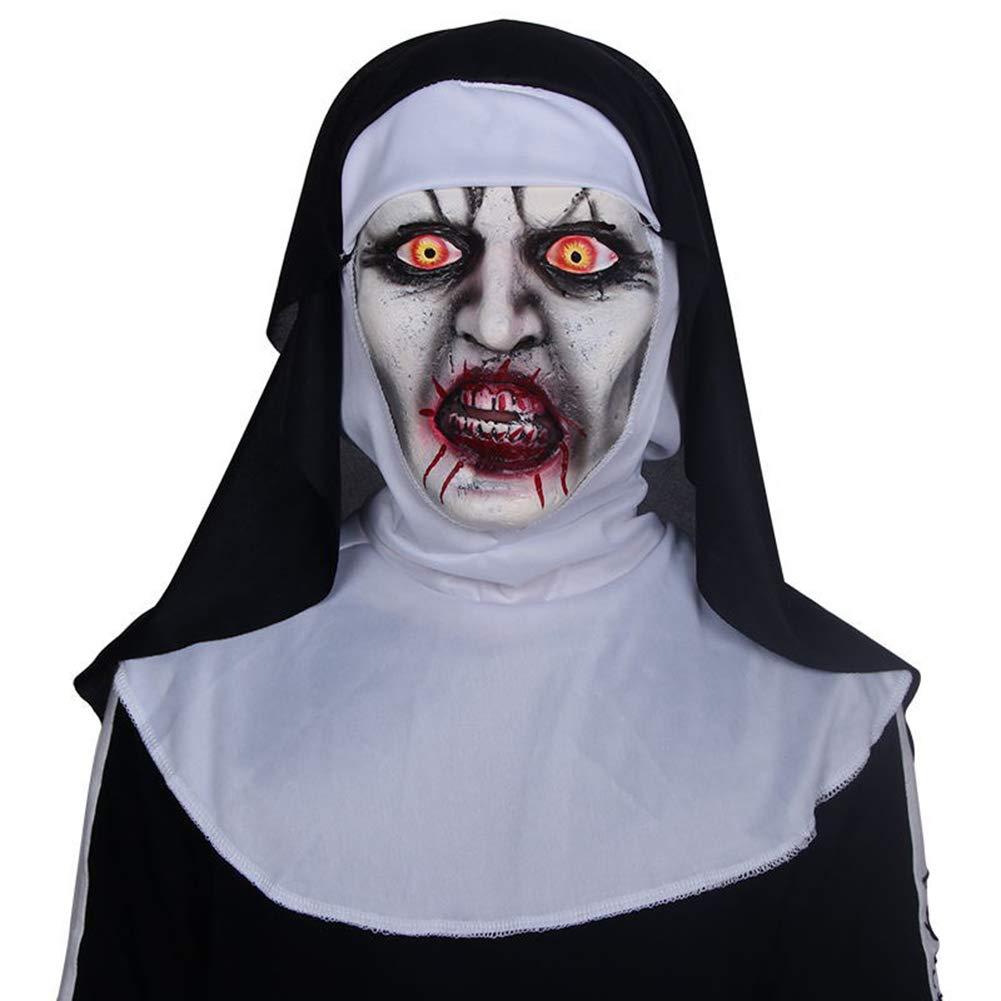ABLUD Maschera In Lattice Halloween Spaventoso Zombie Nun Full Copricapo Costume Cosplay Copricapo Maschera In Maschera