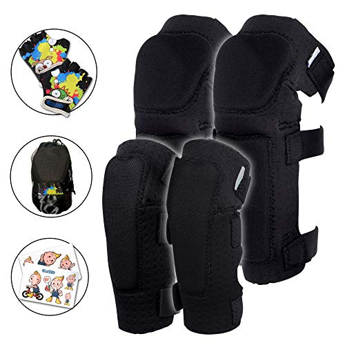Innovative Soft Kids Knee and Elbow Pads with Bike Gloves | Toddler Protective Gear Set w/Mesh Bag | Comfortable | Skateboard for Children Boys Girls ((2nd Gen) Black, Small (2-4 ()