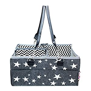 Baby Diaper Caddy Organizer – Large, Gift with Dividers, Pockets and Removable Handles (Stars)