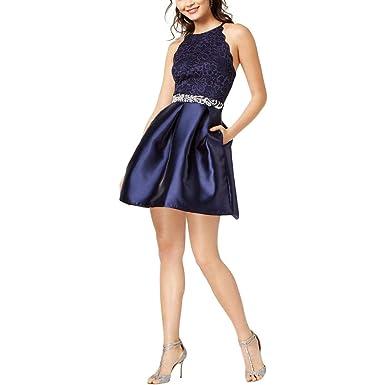 8e6fa818281 Amazon.com  BCX Womens Juniors Satin Embellished Semi-Formal Dress ...