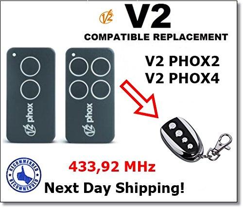 V2 PHOX 2, PHOX 4 Transmetteur De Té lé commande Compatible Pour l'automatisation De Porte De Garage Code Fixe 433,92 MHz PHOX 4 Transmetteur De Télécommande Compatible Pour l' automatisation De Porte De Garage Code Fixe 433