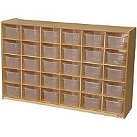 Wood Designs WD16031 (30) Tray Storage with Translucent Trays, 36 x 58 x 15' (H x W x D)