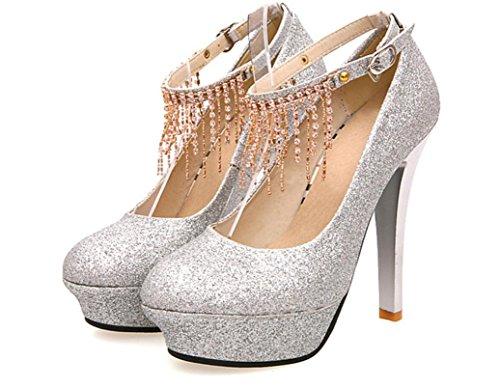 YCMDM primavera e in autunno Nuove scarpe da sposa le donne di moda Tacchi alti singoli pattini Strass impermeabile alti talloni della piattaforma , silver , 36
