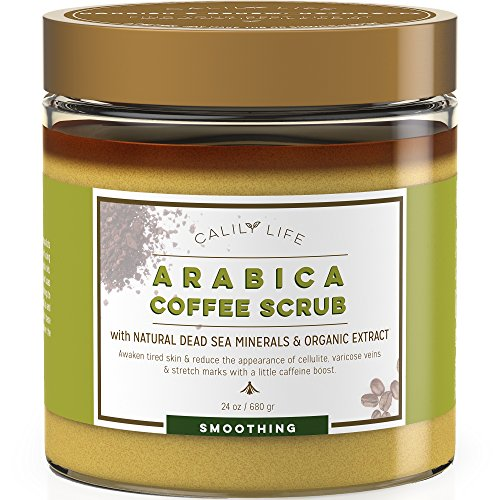Calily Life Organic Arabica Coffee Scrub with Dead Sea Minerals, 23.38 Oz