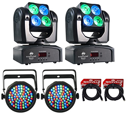 ((2) American DJ ADJ Inno Pocket Wash LED Moving Head Light Effects+(2) Slimpars )