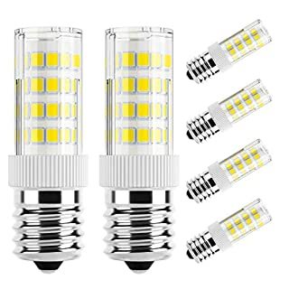 DiCUNO E17 LED Bulb, Appliance Bulbs, Microwave Oven, Stovetop Light, 4W 400lm, Daylight White 6000k, Non-dimmable 40w Equivalent Replacement Incandescent Bulb, 6-Pack.