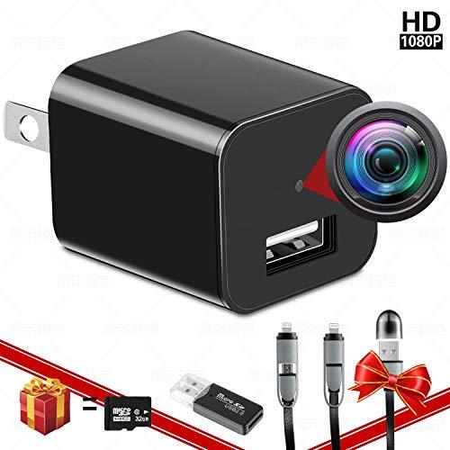 🥇 Spy Camera Charger – Hidden Camera – with 32G SD Card – Hidden Nanny Cam – Mini Spy Camera 1080p – Surveillance Camera 1080 HD – Premium Pack – USB Charger Camera – Motion Detection – Loop Recording