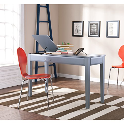 Southern Enterprises Uphove Cool Gray Writing Desk - Split Top Storage Compartments - Contemporary Design