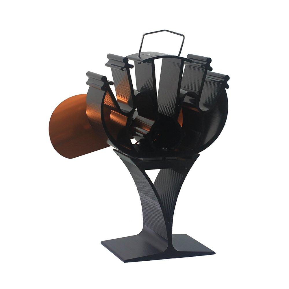 2018 neu entwarf 2 Blades Hitze-angetriebener Eco freundlicher Ofen-Ventilator für Holz Burning/Log-Brenner-Kamin, der 15% ~ 30% Brennstoff spart (Gold) VDSA