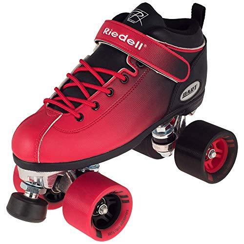 Riedell Skates - Dart Ombré - Quad Roller Speed Skate | Black & Red | Size 8