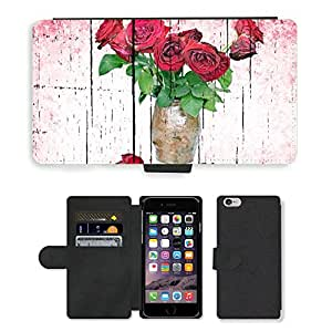 Hot Style Cell Phone Card Slot PU Leather Wallet Case // M00153135 Rose Dead Wilted Flower White Black // Apple iPhone 6 4.7""