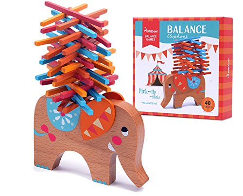 KINGZHUO 40 Pieces Wooden Stacking Board Games Building Blocks Elephant Balancing Toy Educational Gift For Kids by KINGZHUO