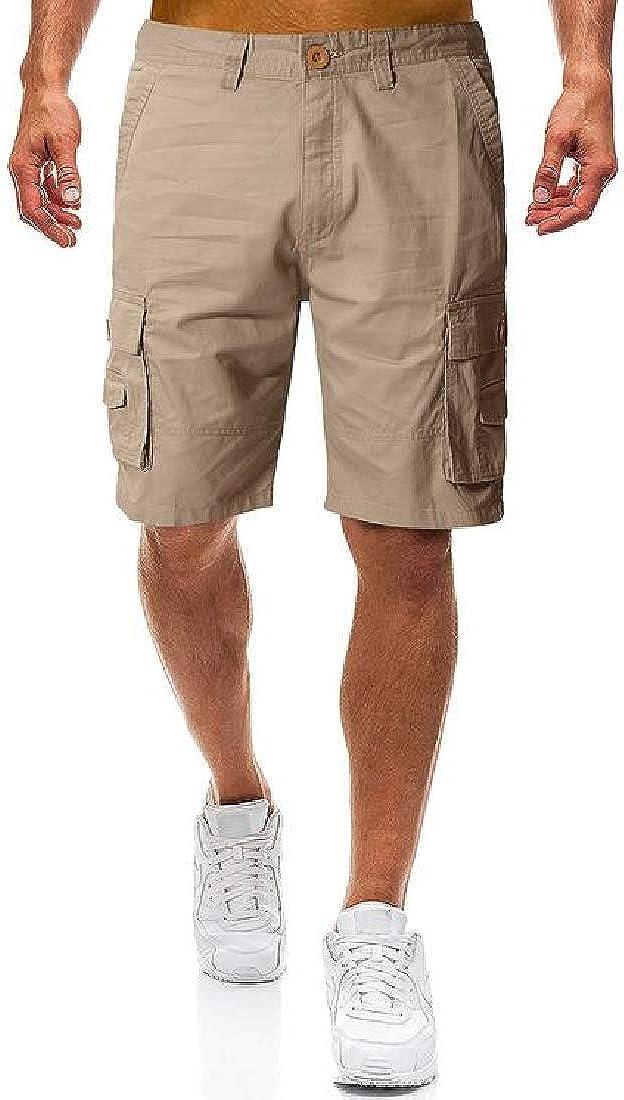 X-Future Mens Summer Cotton Loose Straight Leg Multi Pockets Solid Color Cargo Shorts