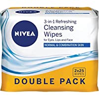 NIVEA Daily Essentials 3 in 1 Refreshing Facial Cleansing Wipes Twin Pack, 50 count
