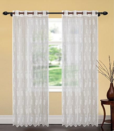 United Linens- 1 piece Embroidery window curtains jamine (52x84) (White) Window treatments for kitchen and drapes for living room and bedroom panels grommet (white) (Place To Curtains Inexpensive Best Buy)
