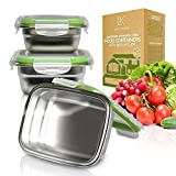 LILYS KITCHEN Set of 3 Stainless Steel Food Containers with Lifetime Leakproof Lids - Food Storage Box, Reusable, Great for Outdoor