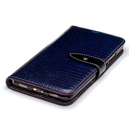 Trumpshop Smartphone Carcasa Funda Protección para Huawei Y7 / Huawei Y7 Prime [Gris] Patrón de Piel de Cocodrilo PU Cuero Caja Protector Billetera Choque Absorción Azul Profundo