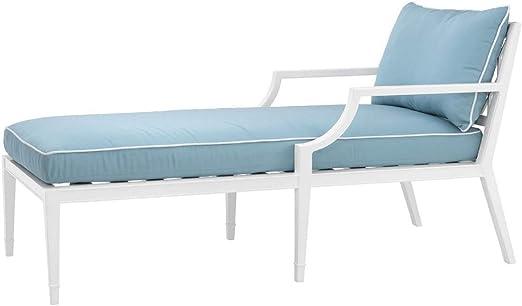 Casa Padrino Chaise Longue Blanco/Azul Claro 68,5 x 157 x H. 79 cm - Sillón Reclinable de Aluminio Duradero Muebles de Sala - Muebles de Jardín - Muebles de Gastronomía: Amazon.es: Hogar