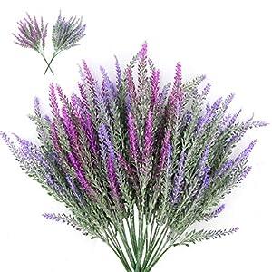 CEWOR 6pcs Artificial Lavender Flowers Bouquet in 4pcs Blue and 2pcs Purple Artificial Plant for Wedding Decor and Table Centerpieces 4
