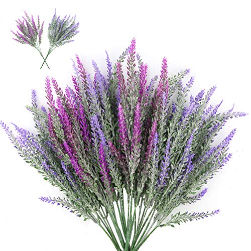 CEWOR 6pcs Artificial Lavender Flowers Bouquet in 4pcs Blue and 2pcs Purple Artificial Plant for Wedding Decor and Table Centerpieces -