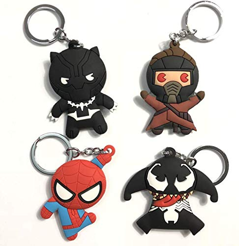 Astra Gourmet Superhero Rubber Key Rings Keychains Super Hero Figure Metal Pendants Superhero Party Favors - Set of 4