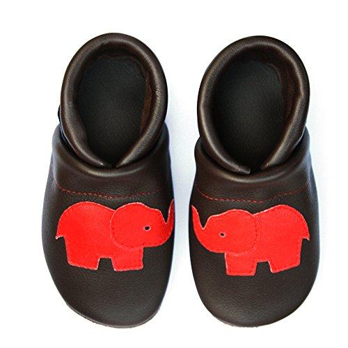 Pantau Leder Krabbelschuhe Lederpuschen Babyschuhe Lauflernschuhe mit Elefant, 100% Leder DUNKELBRAUN_ROT