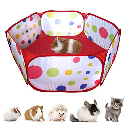 RYPET Guinea Pig Foldable Playpen – Portable Small Animals Playpen Pop Open Outdoor/Indoor Exercise Fence for Guinea Pig…