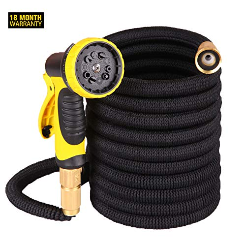 2019 New 100ft Expandable Garden Water Hose,Natural Latex Core,Super Strong Brass Connectors,10 Function Spray Nozzle,Super Strength Fabric,Garden Hose For Water Plants,Shower Dogs,Wash Cars.