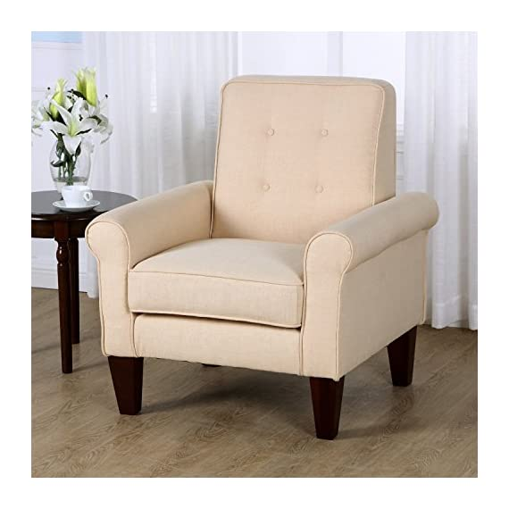 "HomCom Modern Upholstered Linen Tufted Accent Club Arm Chair - Cream White - ✅MODERN LEISURE DESIGN: This contemporary accent club chair features a textured and tufted linen fabric in cream white, a wide seat cushion, slightly tapered tufted back, and comfortable armrests. ✅TUFTED BACKREST: A padded backrest with minimal tufting provides complete comfort and support for a truly relaxing seating experience in your living room, den, or office space. ✅PLUSH AND UPHOLSTERED: Featuring an extra wide seat plush with 6.25"" thick, high-density foam covered with a soft and breathable linen fabric, this chair is not only good looking, it's comfortable too. - living-room-furniture, living-room, accent-chairs - 51rT22r4J2L. SS570  -"