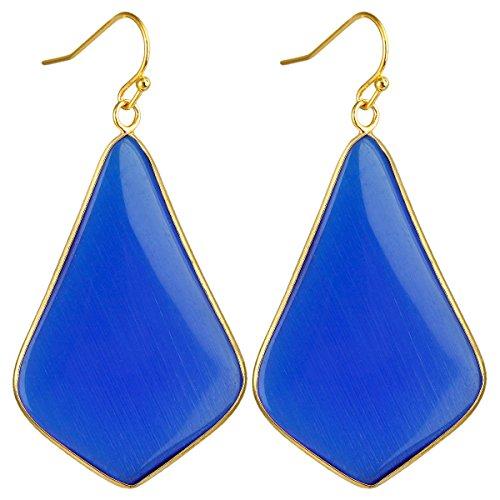 SUNYIK Women's Royal Blue Cat's Eye Stone Large Rhombus Dangle Earrings