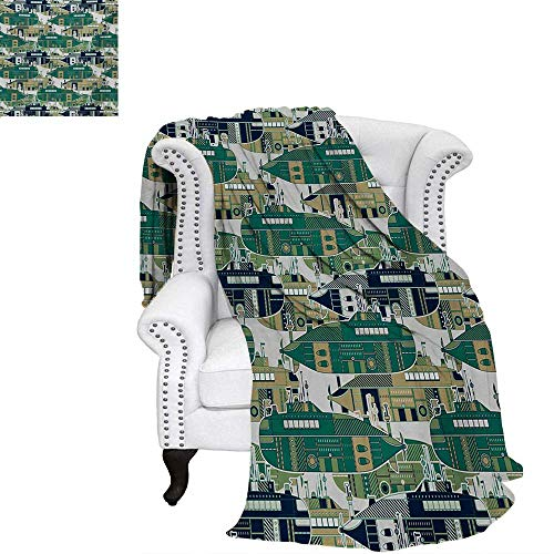 warmfamily Retro Warm Microfiber All Season Blanket for Bed or Couch Old School Submarine Concept with Torpedoes Vintage Hand Drawn Squares Circles Image Throw Blanket 70