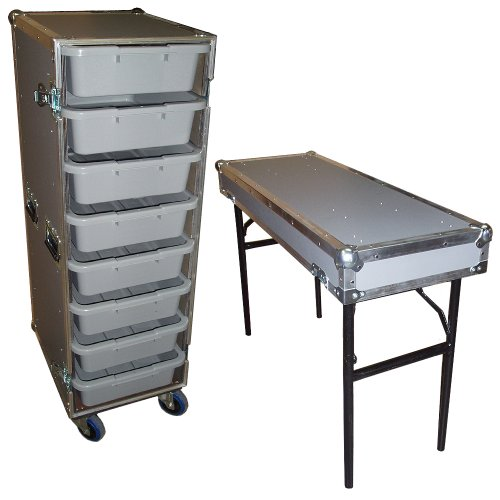 Drawer Workbox - 8 Small Tub - Drawer Heavy Duty 3/8 Ply ATA Case with Lid Table & Wheels by Roadie Products, Inc.