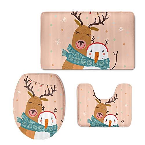 FOR U DESIGNS 3 Piece Merry Christmas Bath Mat Set, Bathroom Mats Set Non-Slip Bathroom Rugs/Contour Mat/Toilet Cover Elk and Snowman