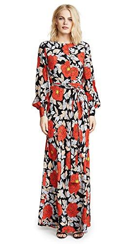 Silk Diane Tie Von Furstenberg (Diane von Furstenberg Women's Waist Tie Maxi Dress, Boswell Black, 6)