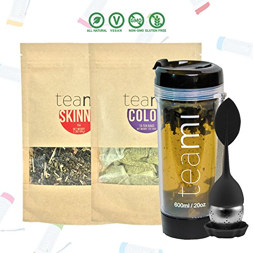 30 Day Detox Tea Kit for Teatox & Weight Loss to get a Skinny Tummy by Teami Blends | Our Best Colon Cleanse Blend to Raise Energy, Boost Metabolism, Reduce Bloating! (Big Black Tumbler & Infuser) For Sale
