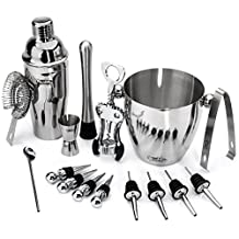 Stainless Steel Wine and Cocktail Bar Set - 16-Piece Bar Kit Includes Essential Barware Tools and Ice Bucket w/Bonus 1000 Bartender Recipes eBook