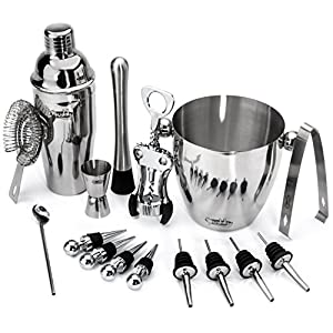 Buddy 16-Piece Wine and Cocktail Mixing Bar Set–Bartender Kit with Essential Barware Tools - Large 25 oz. Stainless Steel Shaker, Ice Bucket, Muddler, Double Sided Jigger - 1000 Cocktail Recipes PDF