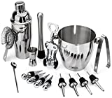 Buddy 16-Piece Stainless Steel Wine and Cocktail Bar Set - Bar Kit Includes Essential Barware Tools and Ice Bucket w/Bonus 1000 Bartender Recipes eBook