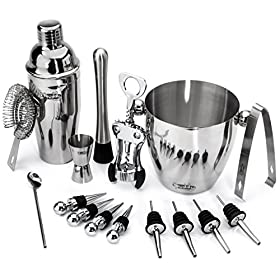 Buddy 16-Piece Wine and Cocktail Mixing Bar Set-Bartender Kit w/Essential Barware Tools-Large 25 oz. Stainless Steel Shaker, Ice Bucket, Muddler, Double Sided Jigger – Free 1000 Cocktail Recipes PDF