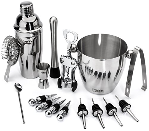 Buddy 16-Piece Wine and Cocktail Mixing Set – Bartender Kit with Essential Barware Tools - Large 25 oz. Stainless Steel Shaker, Ice Bucket, Muddler, Double Sided Jigger - 1000 Cocktail Recipes PDF